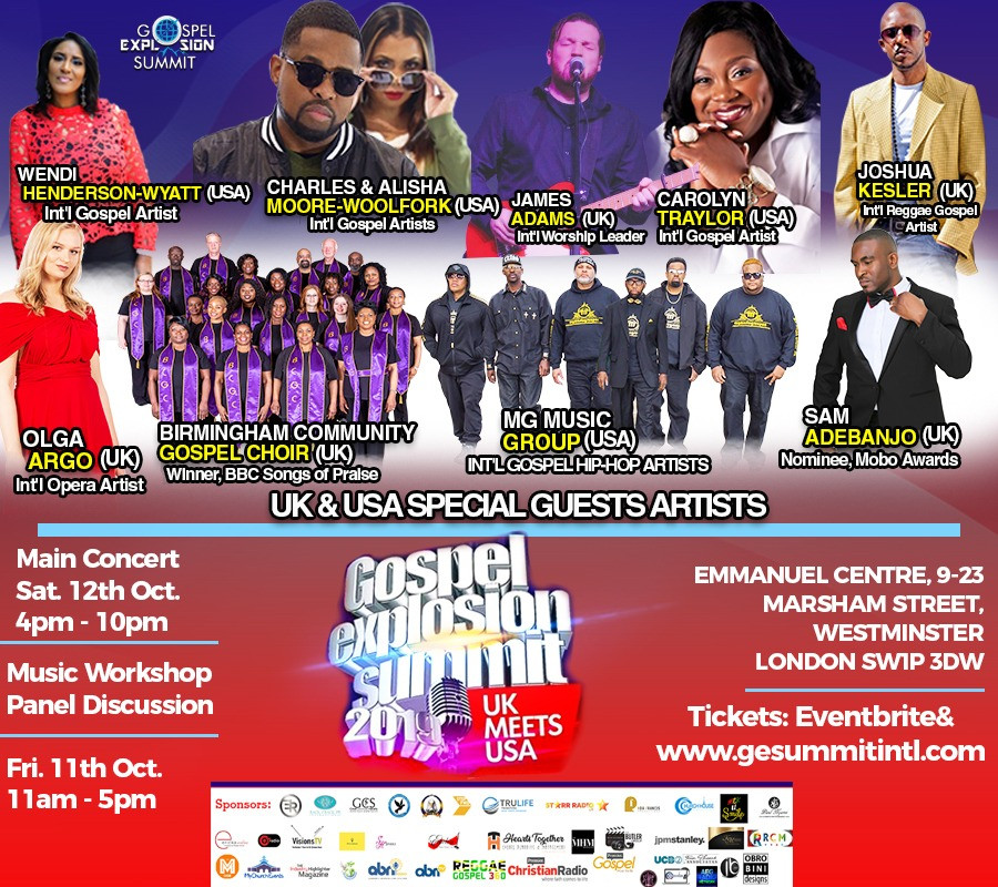 UK & USA Artists Converge on London for Gospel Explosion Summit 2019